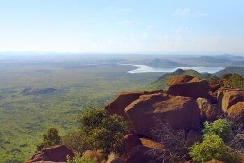 View from a koppie (hill) looking  towards Bospoort Dam, North-east of Rustenburg, North West