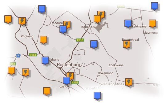 Map of Rustenburg & Surrounding Accommodation